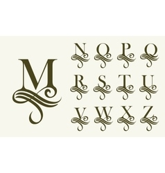 Vintage set 2 capital letter for monograms and vector