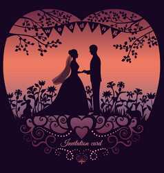 Wedding invitation card with silhouette bride and vector
