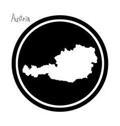 white map of austria on black circle vector image vector image