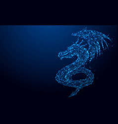 wireframe dragon mesh from a starry background vector image