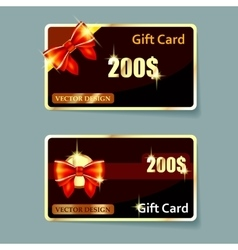 Colorful gift cards with realistic ribbons vector