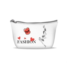 White textile cosmetic bag vector