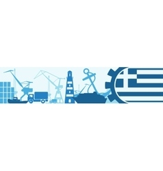 Cargo port greece flag in gear vector