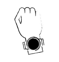 Hand digital smart watch wearable technology vector