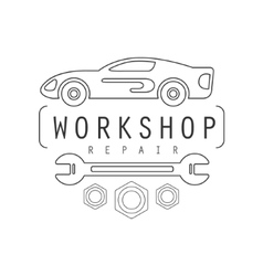 Car repair workshop black and white label design vector