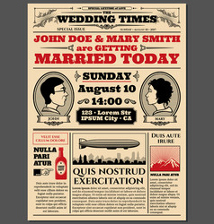 Vintage newspaper front page wedding invitation vector