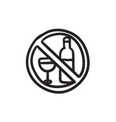 No alcohol sign sketch icon vector