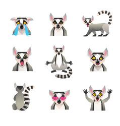 Polygonal lemur icon set vector