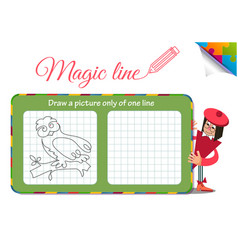 Draw a picture only of one line owl vector