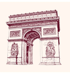 Arch of triumph paris hand drawn vector
