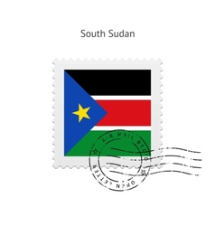 South sudan flag postage stamp vector
