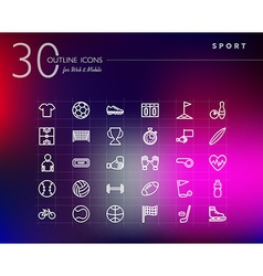 Sports outline icons set vector