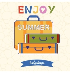 Enjoy summer typography with luggage vector