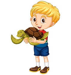 Little boy and a turtle vector