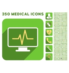 Pulse monitoring icon and medical longshadow icon vector
