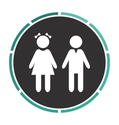 Girl and boy computer symbol vector