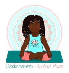 Girl in lotus pose with mandala background vector