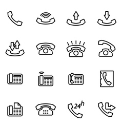 Line telephone icon set vector