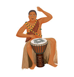 African man in ethnic clothing plays wooden djembe vector