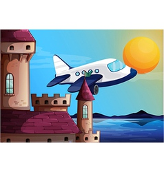 An airplane near the castle vector