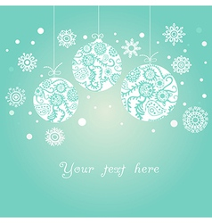 Background with christmas balls on blue vector
