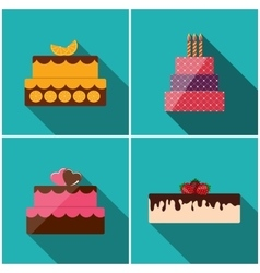 Birthday cake flat icon set with long shadow for vector
