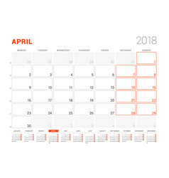 Calendar template for 2018 year april business vector