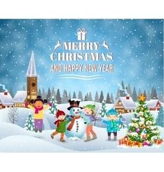 Children building snowman vector image