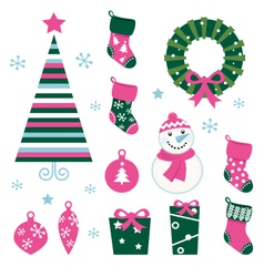 christmas cartoon icons vector image