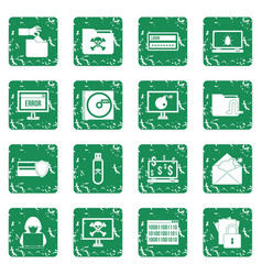 Criminal activity icons set grunge vector