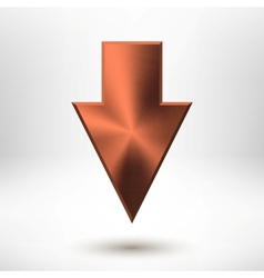 Down Arrow Sign with Bronze Metal Texture vector image