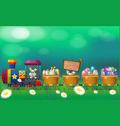 Easter eggs and bunny in the train vector