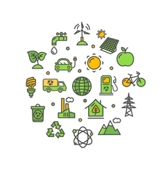 Ecology Round Design Template Thin Line Icon vector image vector image
