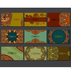 Ethnic colored business card set vector image