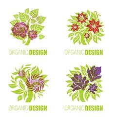 floral logo set 3 vector image vector image