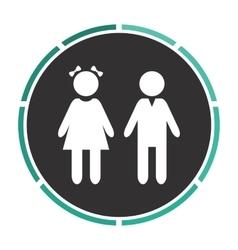 Girl and boy computer symbol vector