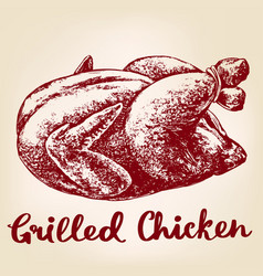 grilled chicken turkey meat barbecue hand drawn vector image vector image