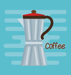 Italian coffee maker traditional element on blue vector