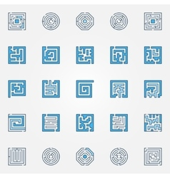 Labyrinth colorful icons vector