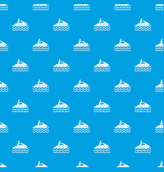 Man on jet ski rides pattern seamless blue vector