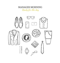 Manager morning hand drawn concept vector