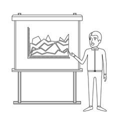 Monochrome silhouette of businessman in casual vector
