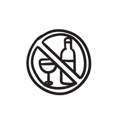 No alcohol sign sketch icon vector