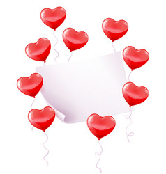 Red balloons with paper banner vector