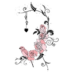 roses bird and heart vector image vector image