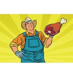 Rural retro farmer and meat leg vector