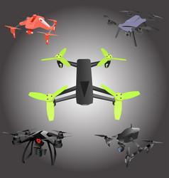 set of cartoon drones isometric vector image vector image