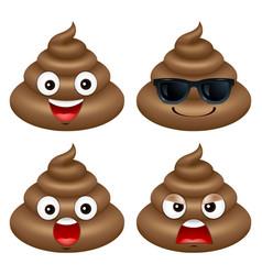 Set of cute poop happy poop emoji emotional vector