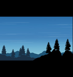 Silhouette of spruce on the hill landscape vector