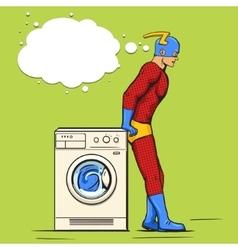 Superhero in the laundry comic book vector